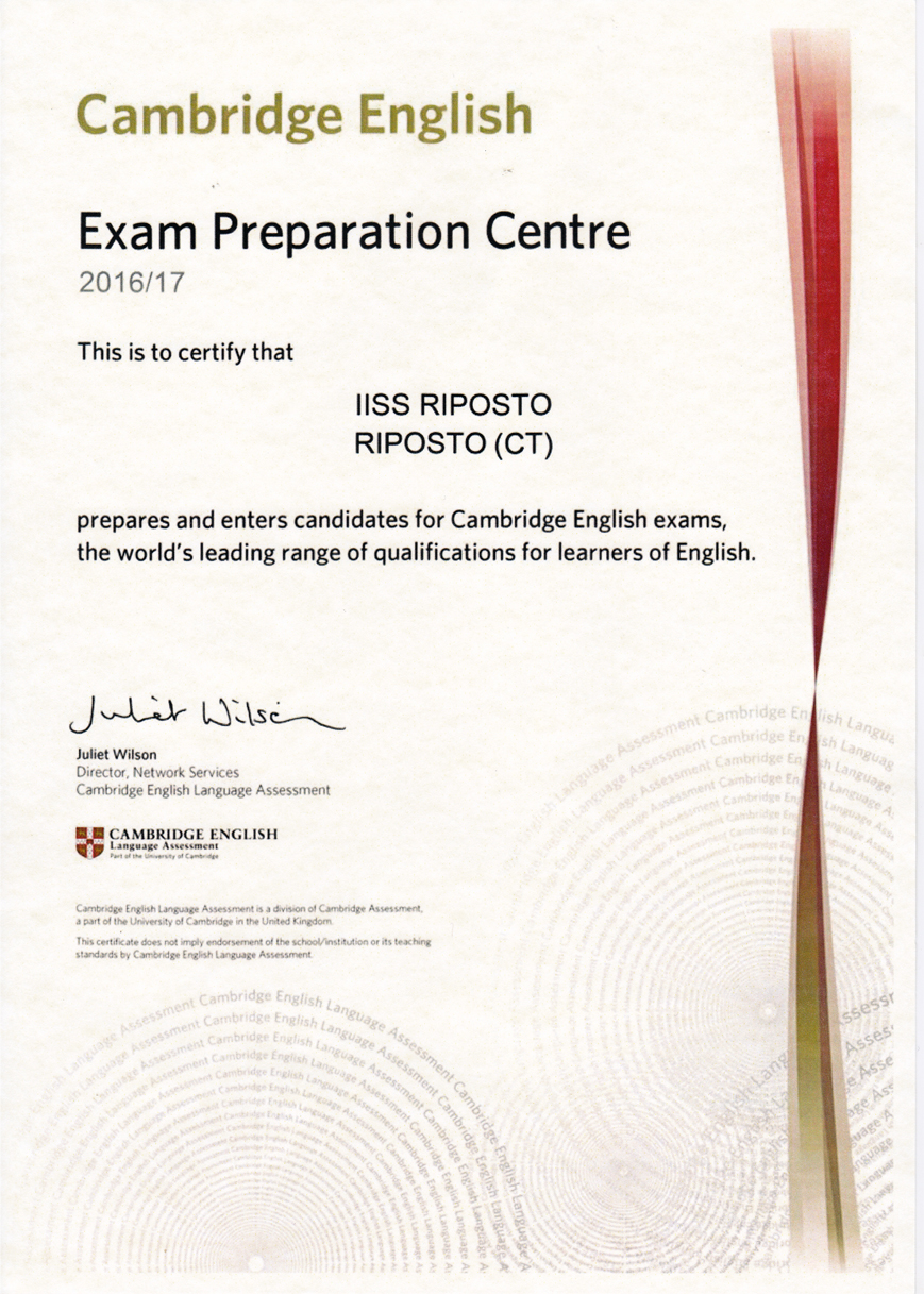 CAMBRIDGE CERTIFICATE 2017
